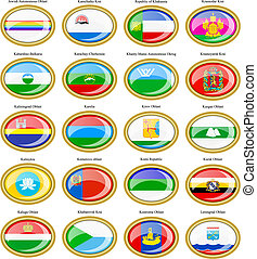 Federal subjects of the Russian Federation flags. - Set of ...