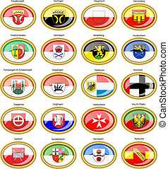 Set of icons. Flags of german cities (Baden-Wurttemberg)....