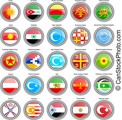 Set of icons. Flags of the Asia. 3D.