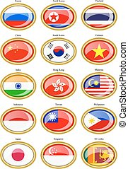 Flags of the Asia.