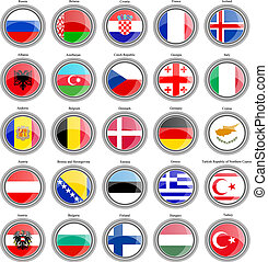Flags of the Europe.