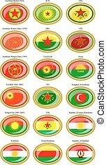 Flags of the Kurdistan.