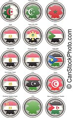 Set of icons. Flags of the North Africa.