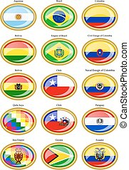 Flags of the South America.