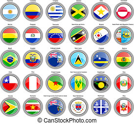 Flags of the South and Central America. - Set of icons....