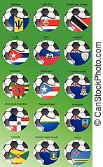 Set of icons. Flags of the South and Central America with soccer ball.