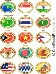 Flags of the Southern Asia.