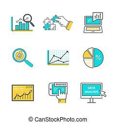 Set of Icons Flat Style Data Analysis
