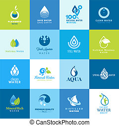Set of vector icons for different types of water