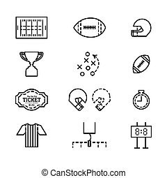 set of icons for american football.