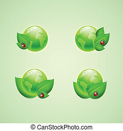 Set of icons for app or web design. Green leaves and ladybird with the globes