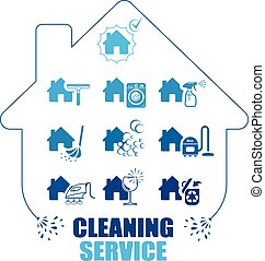 Set of icons for cleaning service.