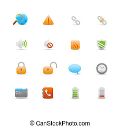 Set of icons for common computer functions - illustration -...