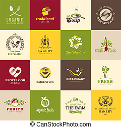 Set of icons for food and drink, restaurants and organic...