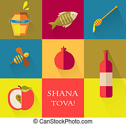 "Set of icons for Jewish holiday Rosh Hashana. ""Happy New Year"" (Hebrew)"