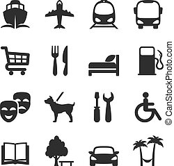 Set of icons for locations and services with a port airport...