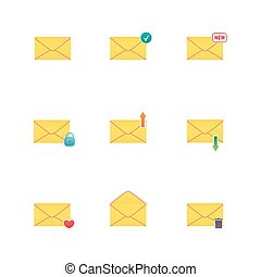 Set of icons for messages. Vector illustration.