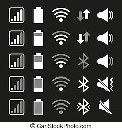 Set of icons for mobile phone system. Vector illustration.