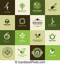 Set of icons for organic food