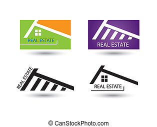 Set of icons for real estate business on white background.
