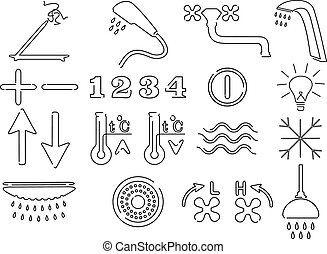 Set of icons for shower cabin
