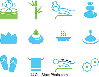 Set of icons for spa, wellness and massage isolated on white