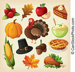 Set of icons for thanksgiving - Set of colorful cartoon...