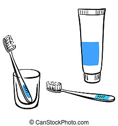 Set of icons for toothbrushing - Set of subjects for a ...