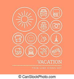 Set of icons for vacation theme think line style vector illustration
