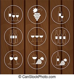 Set of icons for wine shops, vector illustration