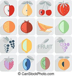 set of icons, fruit, flat style