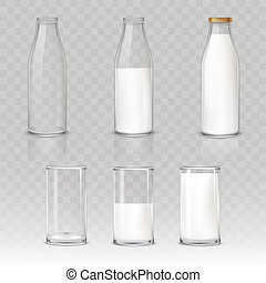 Set of icons glasses and bottles with