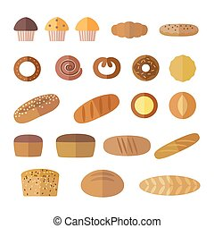 Set of icons in a flat style on the baking theme.