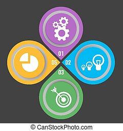 Set of icons in buttons with mechanical gears, electric lamps