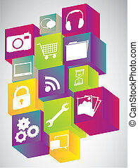 Set of Icons in colorful cubes. vector illustration
