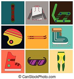 Set of Icons in flat design Ski equipment