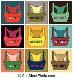 Set of Icons in flat design Sports top