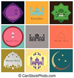 Set of icons in flat style Ramadan