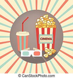 Set of icons in the style an old movie. 3d glasses, popcorn, a drink with straw on background rays.