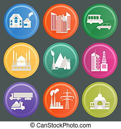 Set of icons infrastructure city, vector illustration