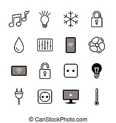 Set of icons. Internet of things. Smart house. Smart home