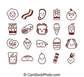 set of icons kawaii food , line style icon