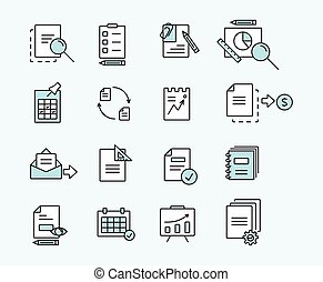 Set of icons linear design documents for business, finance and communication. Vector illustration.