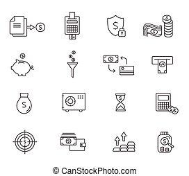 Set of icons linear design finance . Vector illustration.