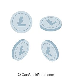 Set of icons Litecoin coins