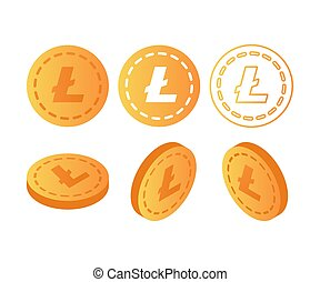 Set of icons Litecoin coins on the isolated white background.