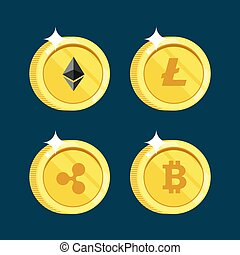 Set of icons Litecoin, Ripple, Ethereum, bitcoin coins on the isolated black background.