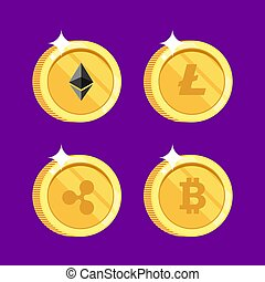 Set of icons Litecoin, Ripple, Ethereum, bitcoin coins