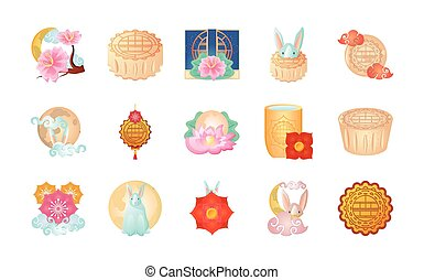 set of icons mid autumn festival or chinese moon festival vector illustration design
