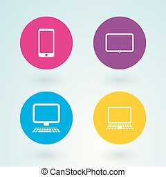 set of icons mobile devices